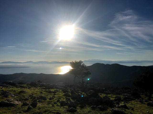 West view from the top of Mount Xiron on north evia