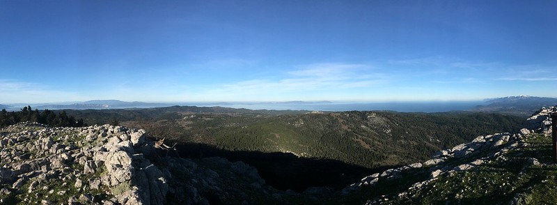 East view from the top of Mount Xiron on north evia greece