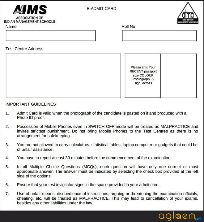 Admit Card of ATMA 2018