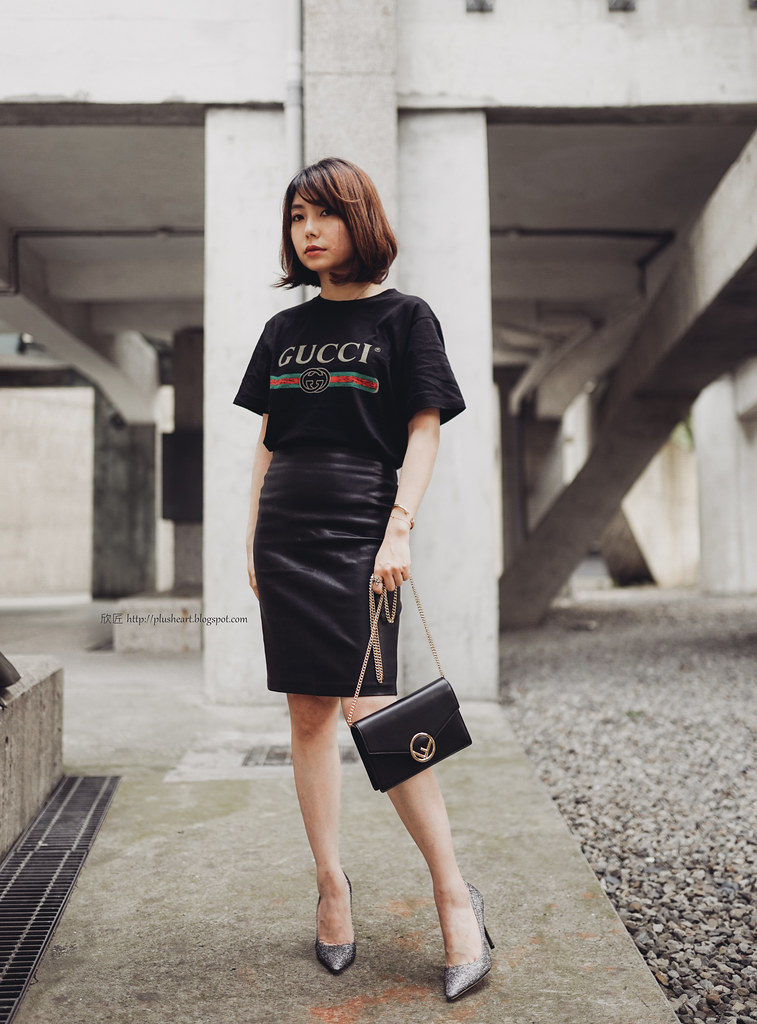▌Outfit ▌3XS的誘惑,穿上它就可以去送公文:Gucci Logo-print T-shirt + Fendi kan i Wallet on Chain + Jimmy Choo Romy亮片高跟鞋