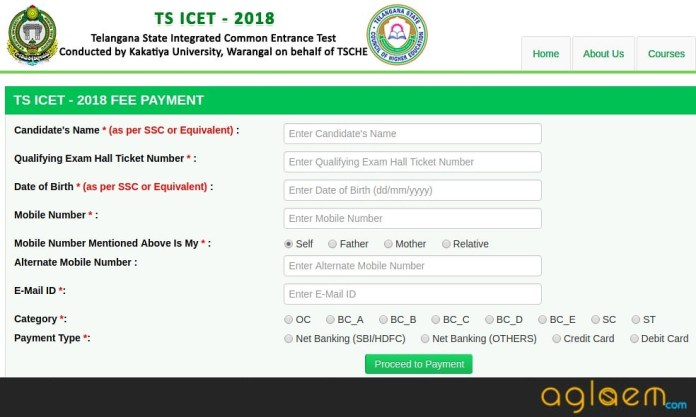 TS ICET Application Form 2018