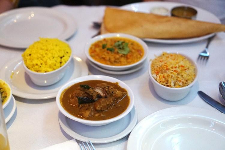 Nadan khozy curry, channa masala, dosa, pilau rice and lemon rice from Rasa Travancore in Stoke Newington | gluten free London | gluten free Stoke Newington | gluten free Central London