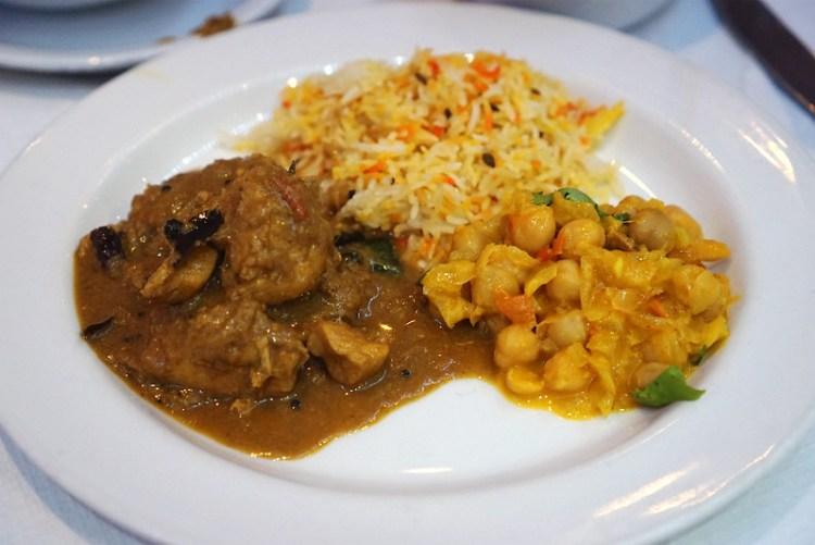 Nadan khozy curry, channa masala and pilau rice for Rasa Travancore in Stoke Newington | gluten free London | gluten free Stoke Newington | gluten free Central London