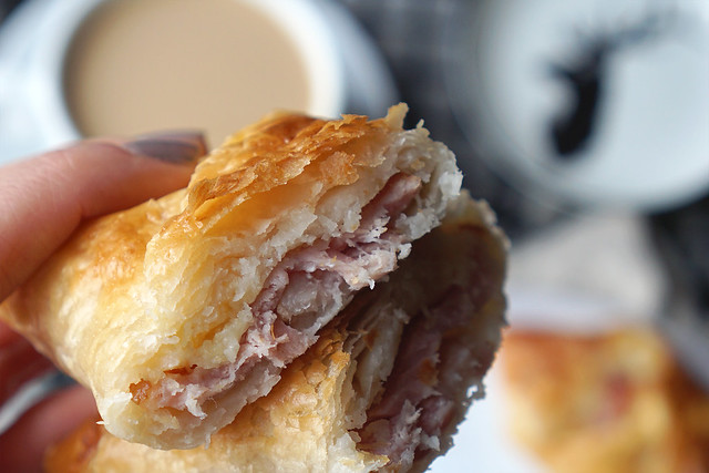 Flaky gluten free cheese and bacon pastries (Greggs copycat recipe) made with Jus-Rol gluten free puff pastry.