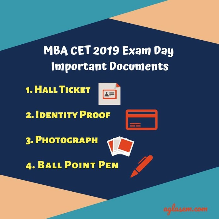 MBA CET 2019 Exam Day Important Documents to Carry