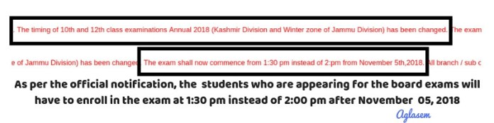 JKBOSE 12th Annual Date Sheet 2018 for Jammu Division Winter Zone