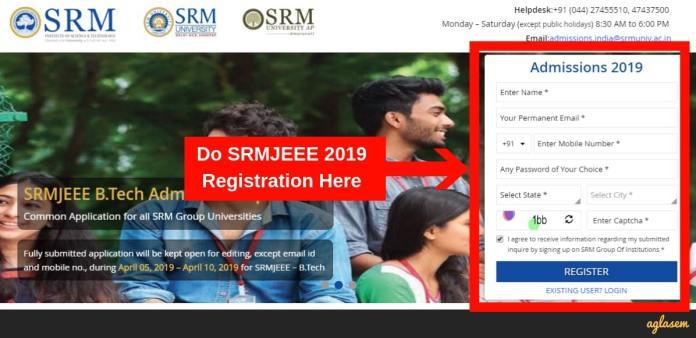 SRMJEEE Application Form 2019