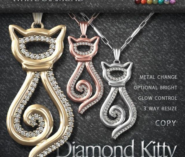 Earthstones Diamond Kitty Necklace White By Abraxxa Anatine