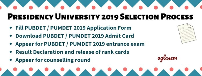 Presidency University Admission 2019 (PUBDET / PUMDET)