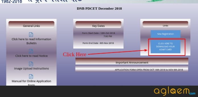 DNB PDCET 2018 Admit Card