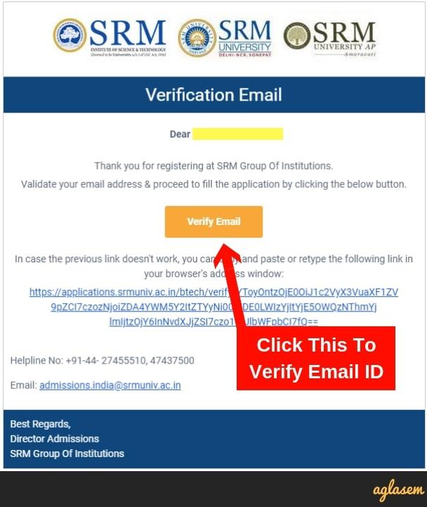 SRM University Email Verification