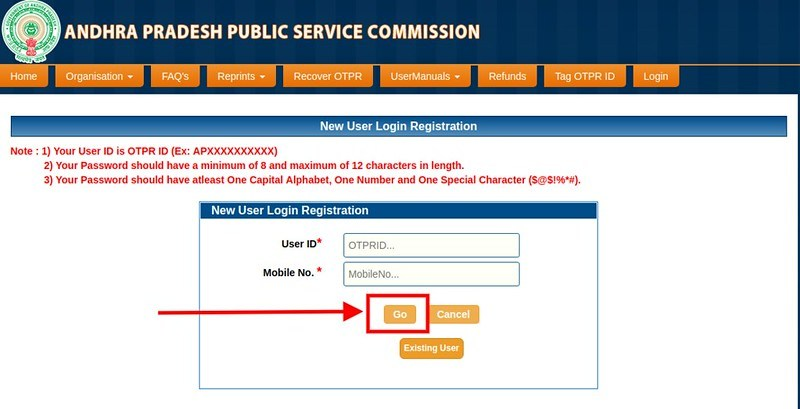 APPSC AEE Hall Ticket 2019 - Login Page