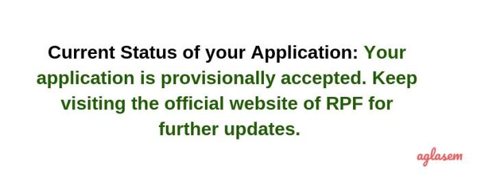 Status of RPF Constable Ancillary Application Form