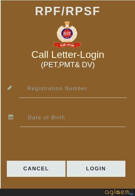 RPF Constable Ancillary Admit Card Login 2019