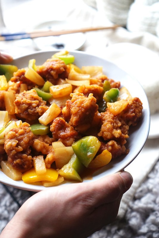 Gluten free takeaway style Chinese sweet and sour chicken (made with battered and deep fried chicken)
