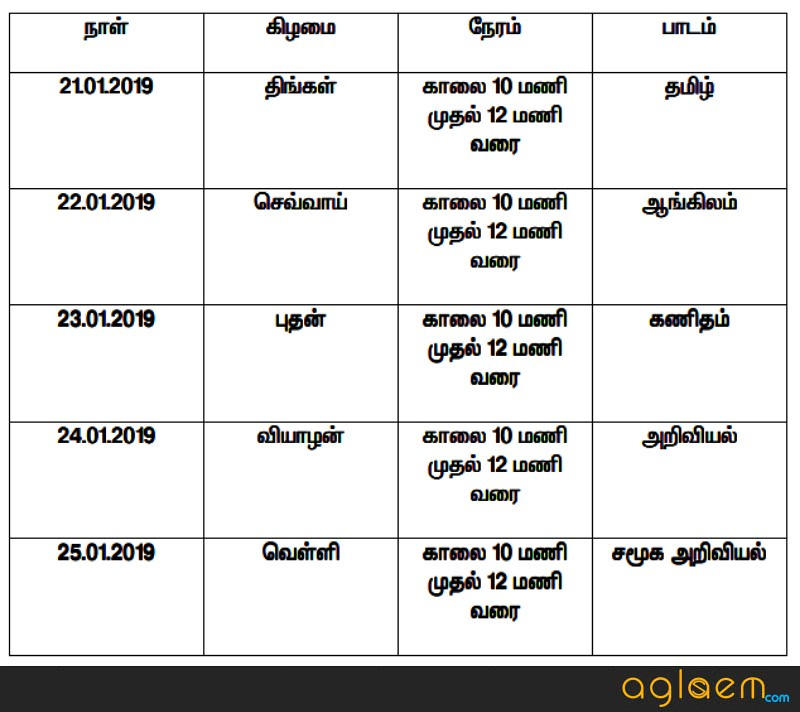 Tamil Nadu ESLC Time Table 2019