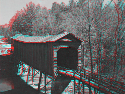 Long Cane Creek Covered Bridge CR Anaglyph