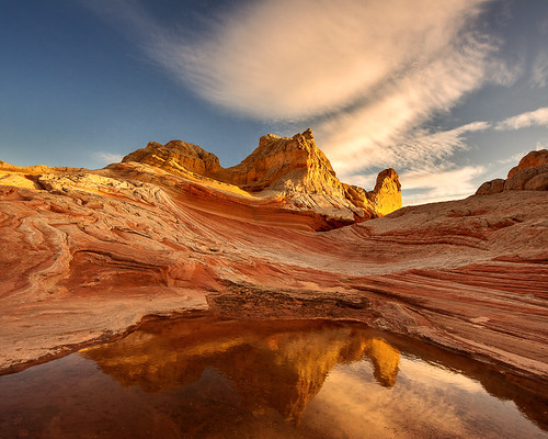Temple In The Sky Beautiful Striated Sandstone Reflected