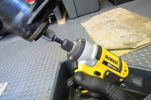 Using Electric Impact Driver to Remove Damper Rod Nut
