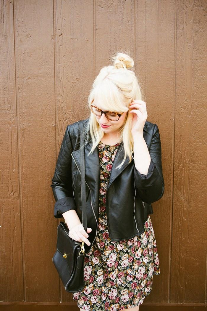 writes like a girl vintage floral dress bb dakota pierre moto jacket9