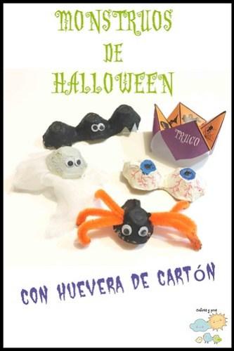 Monstruos de Halloween con huevera de cartón. Manualidad para niños DIY
