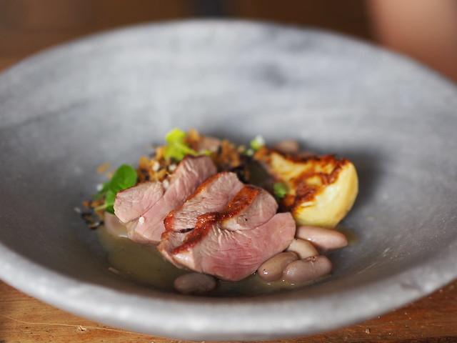 Devonshire lamb rump, borlotti beans, anchovy, baby artichoke