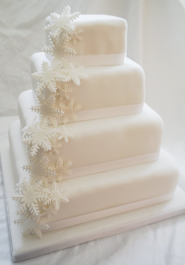 Snowflake Wedding Cake   Four tier square cake  covered with      Flickr     Snowflake Wedding Cake   by There for the Baking