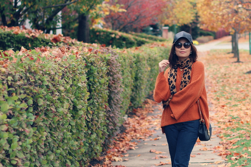 thanksgiving-outfit-fall-style-bp-sweater-leopard-scarf-faux-leather-cap-3
