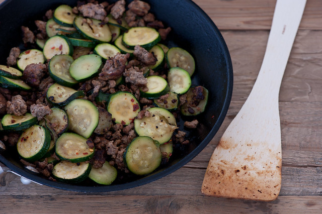 buttery zucchini with ground beef-2