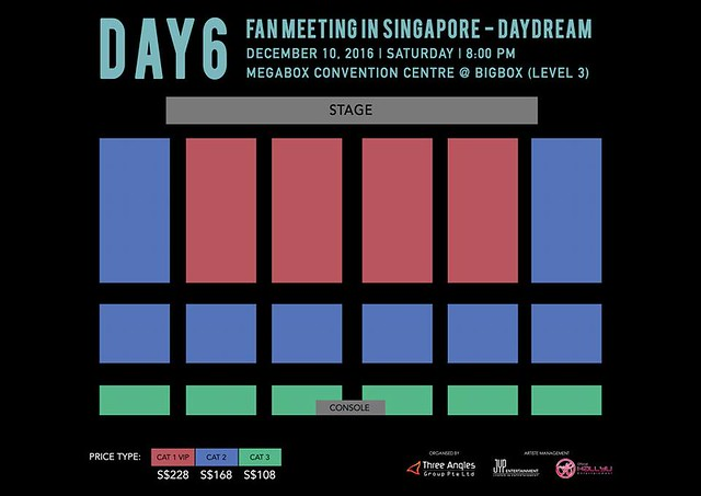 DAY6 Fan Meeting in Singapore – DayDream 2016 Seating Plan