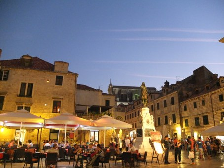 Gundulić Square in the heart of the Old Town in Dubrovnik, Croatia