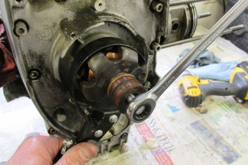 Removing Rotor with Oil Filter Wrench and Hardened Rotor Removal Bolt