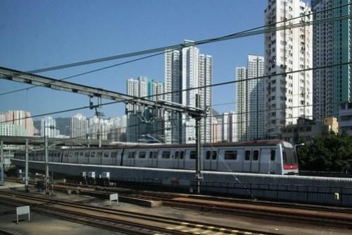MTR Kwun Tong line train passes the Kowloon Bay Depot yard lead