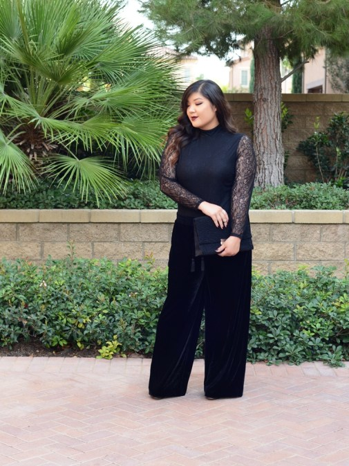 plus size velvet pants and lace bodysuit