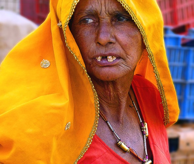 Toothless Old Lady At Kuchaman Market Rajasthan India By Jamehand