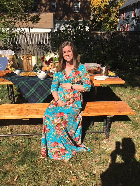 Fall themed baby shower by Calvert Designs pinkblush maternity dress