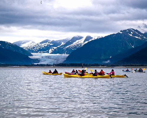 Kayaking toward Mendenhall Glacier