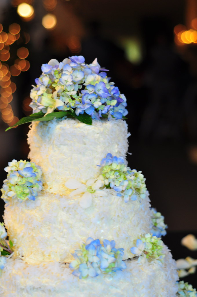 Rebecca and Isaac Wedding   Coconut wedding cake with blue h      Flickr     Rebecca and Isaac Wedding   by kimberlykv
