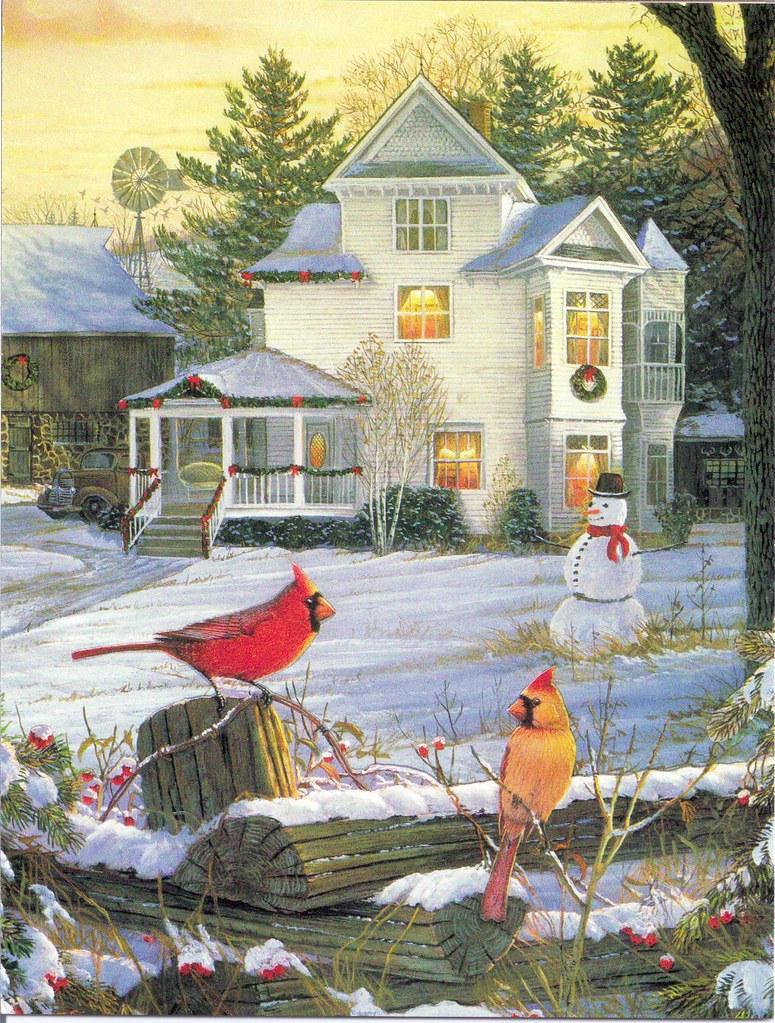 Christmas House Snowman Amp Birds Mailbox Happiness Angee