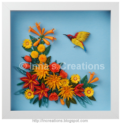 Sunbird And Flowers Paper Quilling Framed Paper