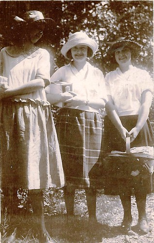 young ladies on their way to a pie supper