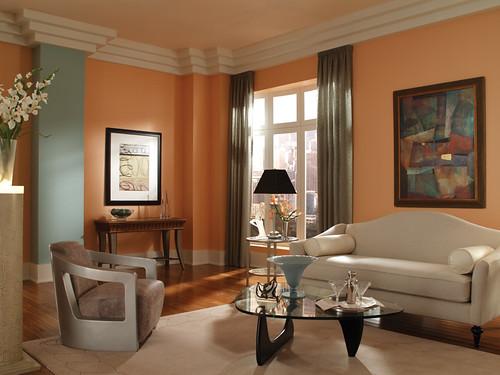 Art Deco Living Room | Walls: Pink Beach 230C-3 Ceiling