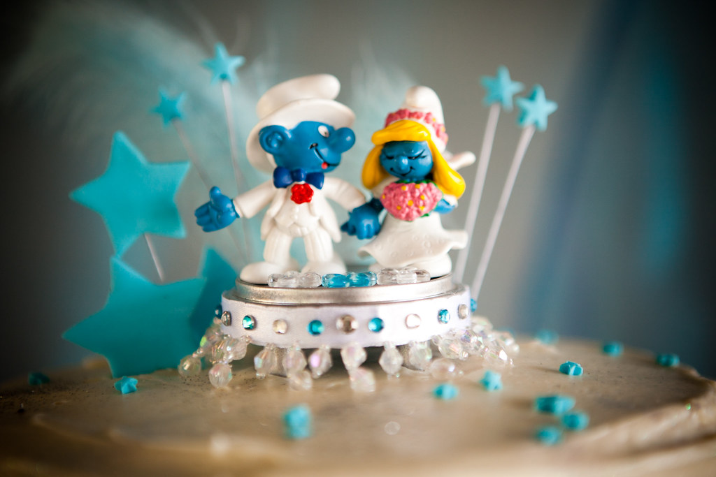 Smurf Cake Topper I Hotglued The Smurfs To A Little Toy