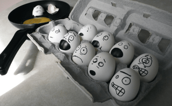 Eggs with stressed faces