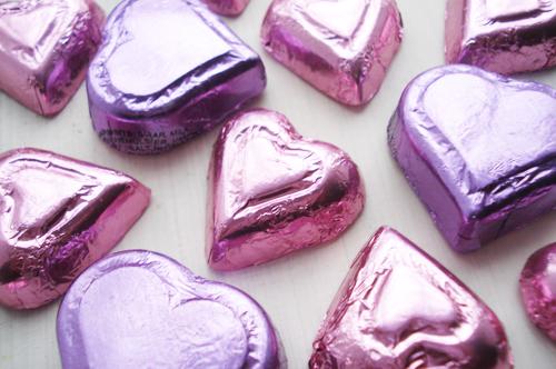 Pink And Purple Hearts Happy Valentines Day XOXO