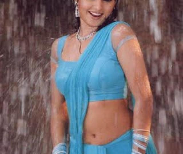 Malayalam Actress Gajala Navel Wet In Blue Saree