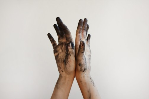 Image result for hands covered in charcoal