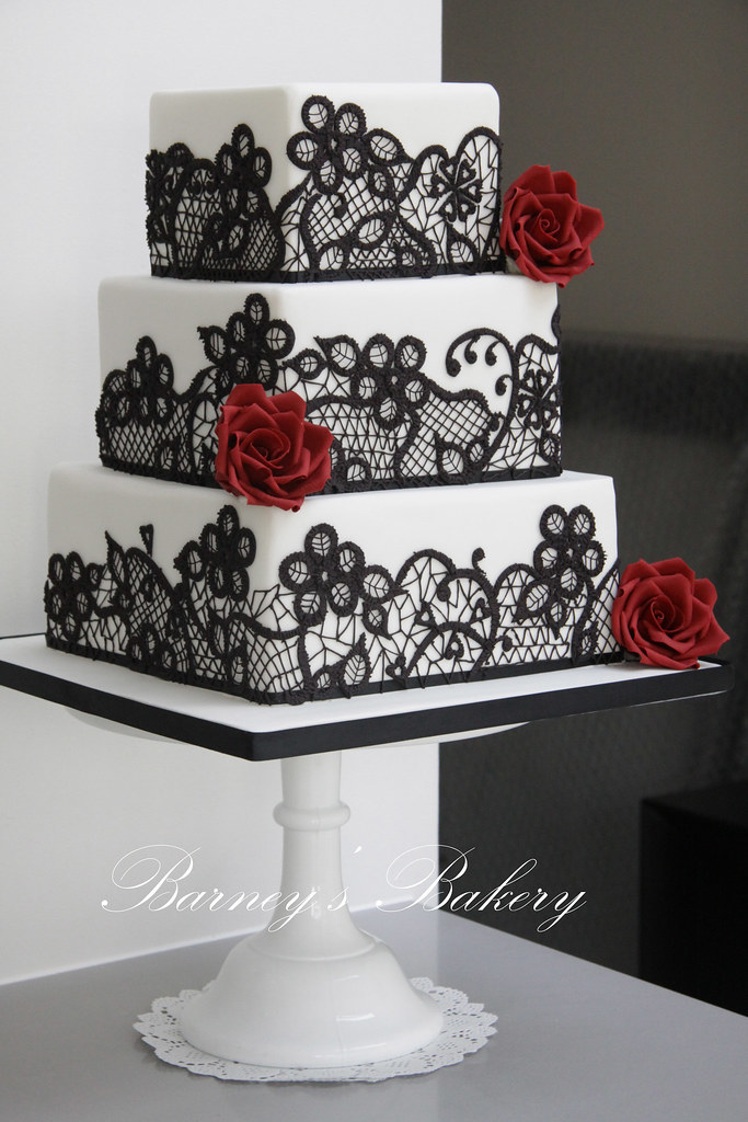 Black  white and red wedding cake   I loved making this cake      Flickr     Black  white and red wedding cake   by Barney s Bakery