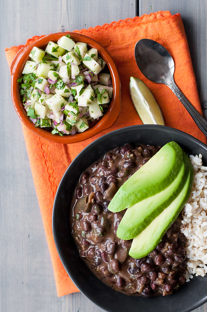 Black bean soup with avocado and apple salsa
