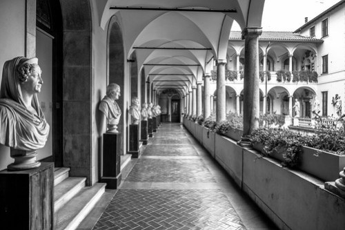 _ COURTYARD full of personalities of the past _
